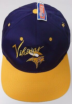 af8cb5376 Vintage 1990s MINNESOTA VIKINGS Logo NFL Football Purple Gold Snapback Hat  Cap