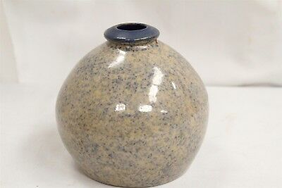 Arts Crafts Blue Speckled Bulbous Hive Southern Folk Art Stoneware Jug Vase WOW