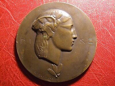 """""""Nike"""", The Goddess of Victory Large Very Rare Medal by Paul Marcel Dammann"""