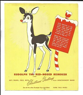 1940s Montgomery Ward Christmas Greetings - Rudolph The Red-Nosed Reindeer