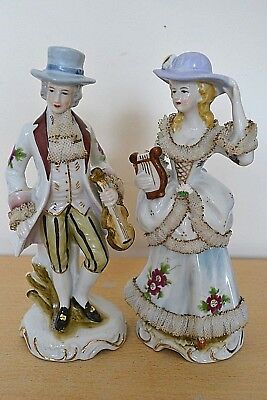 Porcelain/China 18th/19th Century Man with Violin & Lady with Harp Figurines