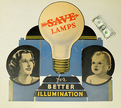Antique 1930s vtg SAVE Lamps Electrical Light Bulb SIGN Art Deco Store Display
