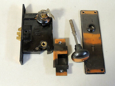 1916 RUSSWIN Copper Door Knob Backplate Lock KEY Antique Victorian Russell Erwin
