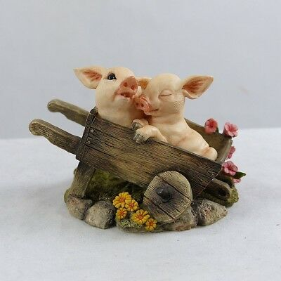 "Country Artists Pig Tales Wilbur & Winnie In Wheel Barrow "" Love is A Blessing """