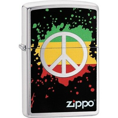 Zippo 29606 Brushed Chrome Classic Peace Splash Windproof Lighter