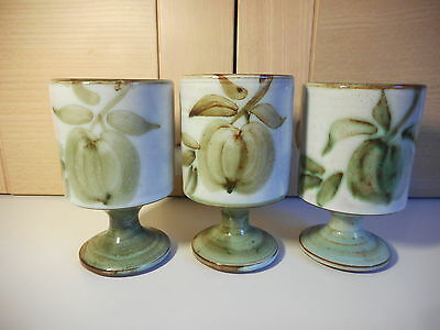 3 Rare Early Briglin Green Apple Design Studio Art Pottery Footed Coffee Mugs