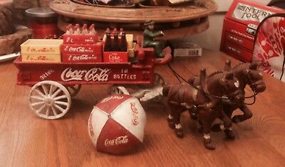 Coca Cola Cast Iron Wagon, Horses, Driver, Cases, Bottles - FREE SHIPPING!