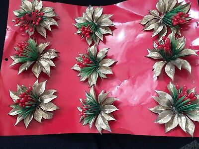 Vintage GOLD LEAF Corsage Christmas pick   LOT NEW OLD STOCK GREENERY SHIPS FREE