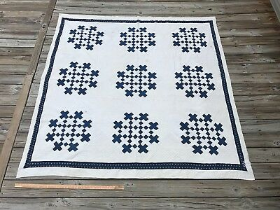 Antique Indigo Blue and White good CUTTER Quilt LARGE 83'' x 80''
