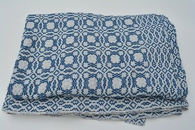 VTG The Goodwin Guild Woven Wool Blue & White Coverlet WHIG ROSE 106x75 QUEEN ??