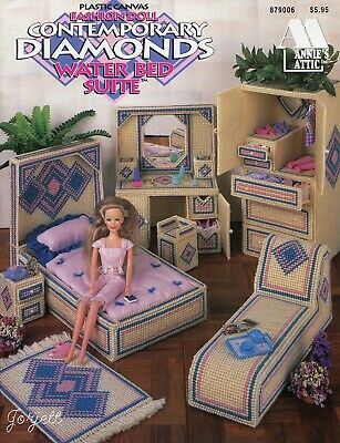 Contemporary Diamonds Water Bed Suite ~ fits Barbie, plastic canvas booklet NEW
