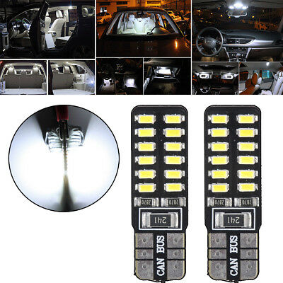 2x Super White T10 W5W 3014 24SMD LED Canbus No Error Car Side Wedge Light Bulb
