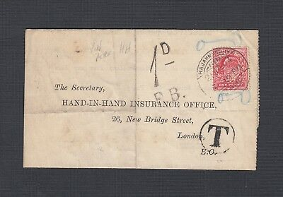 India 1904 Uk Perfin Postage Due Folded Letter Rajahmondhy To London England