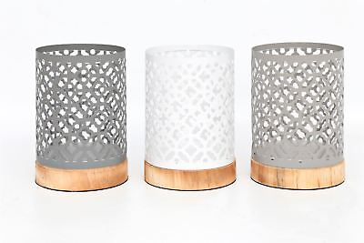 Metal Candle Lanterns With Wood Style Base