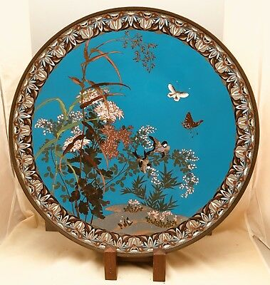 Palace Size Meiji Japanese Cloisonne Charger
