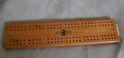 Vintage St. George Wooden Cribbage Board + 2 White & 2 Red Plastic Pegs