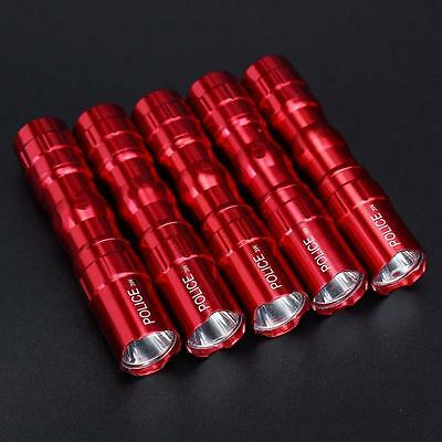 5Pcs Portable Ultra Bright 3W Police Waterproof LED Mini Flashlight Torch Red GA