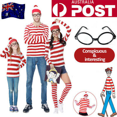 Adults Mens Ladies Wheres Wally Costume Outfit Licensed Fancy Dress Book Week AU
