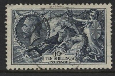 1934 10/- Re-Engraved Seahorse Superb Used. Sg 452
