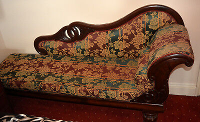 Antique Victorian Chaise Lounge Oak Carved Base