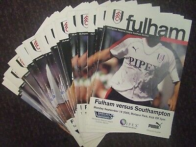 Fulham Fc 2005-10 Reserve Team Programmes Choose From Drop Down List Look!!!
