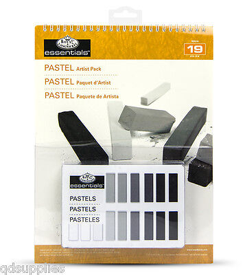 18 Grey Tone Soft Pastels With A4 Artist Pad Set Sketching Drawing RD510
