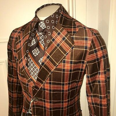 NEW Vtg Brown PLAID Cord CORDUROY Mens 40 Rockabilly SportCoat Jacket Blazer 40R