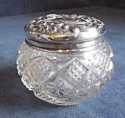 GOOD ~ Solid SILVER Topped ~ Pill / Trinket JAR ~ London 1904