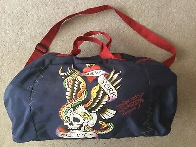 ED HARDY HOLDALL SIZE '18x9x10' DARK BLUE PLUS MOTIF GOOD CONDITION NO RESERVE