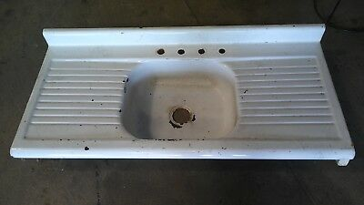 Vintage Antique Cast Iron Sink Double Drain Board Porcelain Farm