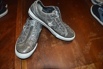 Converse One  Star silver glittery canvas lo-top shoes women's  sz 5.5