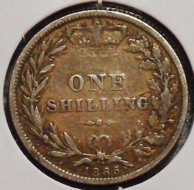 British Silver Shilling - 1885 - Queen Victoria - $1 Unlimited Shipping
