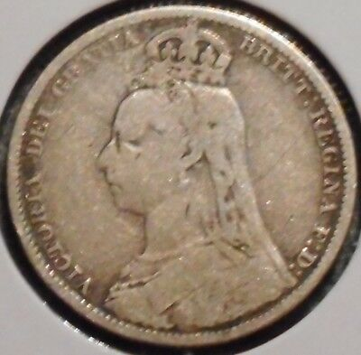 British Silver Shilling - 1889 - Queen Victoria - $1 Unlimited Shipping