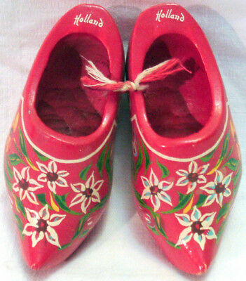 Vintage RED WOODEN SHOES from Holland HAND PAINTED Floral Motif