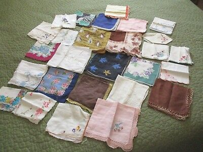 "Vtg Colorful  Handkerchief Lot of 25+ Hankies All Sizes 14"" to 10"" Square"
