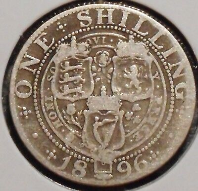 British Silver Shilling - 1896 - Queen Victoria - $1 Unlimited Shipping
