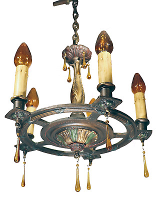Vtg Antique Bradley & Hubbard B H Chandelier Lamp Cast Iron Gothic Art Deco