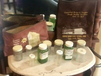 Vintage Lot Of Prescription Bottles And National Money Coin Bags W/ Zippers Tx