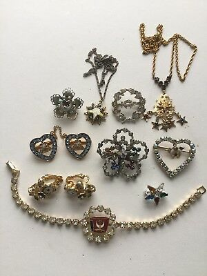 Jewelry Lot Masonic Shriners Eastern Star American Legion Rhinestone Enamel