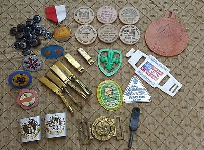 Old Vtg BSA Boy Scouts Uniform Badge Buckle Button Slide Mixed Lot Collection