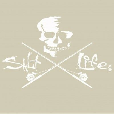 Salt Life Skull And Trolling Large Decal WHITE