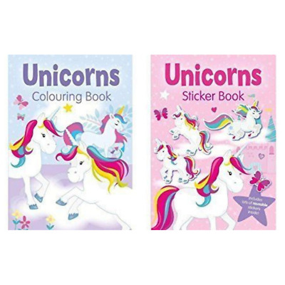 Set of 2 Unicorn Sticker Book and Unicorn Colouring Book Set Colouring Activity