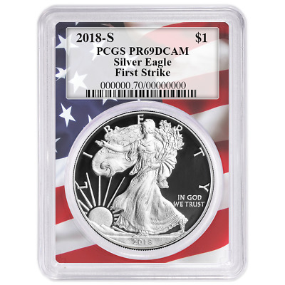 2018-S Proof $1 American Silver Eagle PCGS PR69DCAM First Strike Flag Frame