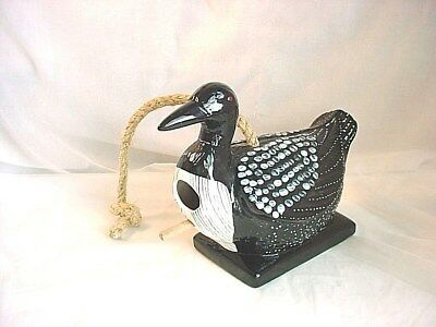 Loon Bird House with Perch 9 inch Hanging Ceramic Hand Painted