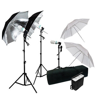 600W Photography Triple Umbrella Continuous Lighting Photo Studio Light Stands