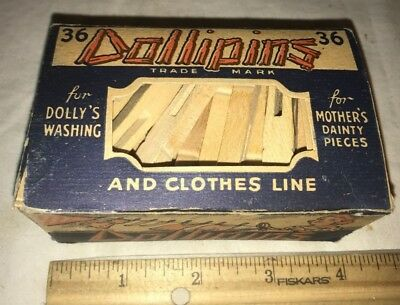 Antique Full Dollipins Clothes Pin Box Doll Toy & Mother Dainty Vintage Clothing