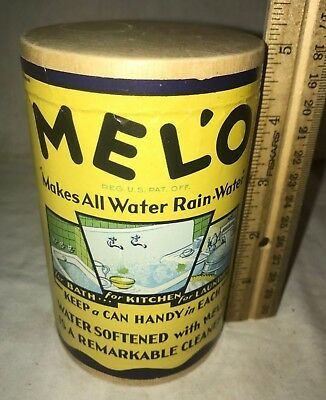 Antique Unopened Mel'o Water Softener Cleaner Box Vintage Laundry Cleanser Soap