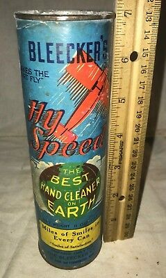 Antique Bleeckers Hy Speed Hand Cleaner Soap Tin Vintage St Paul Mn Can Airplane