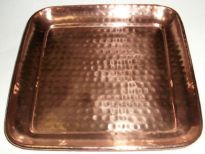 "Solid Copper Hand-Hammered Square Tray 13-1/2"" Dimple Pattern Rounded Corner"