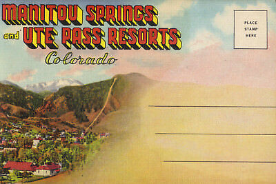 COLORADO Manitou Springs Ute Pass Resorts 1937 fold-out postcard